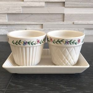 Longaberger flower pots with tray